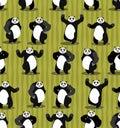 Panda seamless pattern. Chinese bear ornament. Set wild animal. Royalty Free Stock Photo