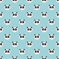 Panda seamless pattern Cute panda face on blue winter background Kids forest wallpaper vector