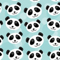 Panda Seamless pattern with funny cute animal face on a blue background. Vector