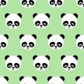 Panda seamless pattern on light green background.
