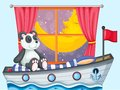 A panda sitting above the boat beside a window illustration of Stock Photos
