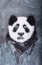Panda in suit painting on tweed background Royalty Free Stock Photo