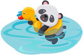 Panda swimming with duck tube Royalty Free Stock Image