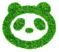 Panda symbol from grass Stock Photo