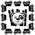 Panda on white vector sign Stock Photos