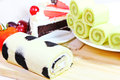 Pandan cake roll with hokkaido mulk sweet bread Royalty Free Stock Image