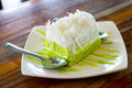 Pandan coconut cake on disk and spoon Stock Photo