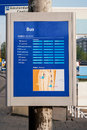 Panel with bus stations in amsterdam netherlands Royalty Free Stock Photo