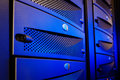 Panel mainframe closeup blue blur server room Royalty Free Stock Photo