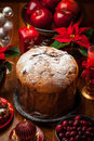 Panettone cake for christmas traditional italian Royalty Free Stock Image