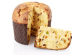 Panettone and slice, italian Christmas cake Royalty Free Stock Photo