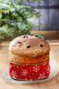 Panettone traditional italian christmas cake decoration Stock Photos