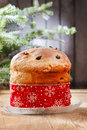 Panettone traditional italian christmas cake decoration Royalty Free Stock Images