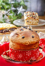 Panettone traditional italian christmas cake decoration Royalty Free Stock Photos
