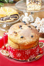 Panettone traditional italian christmas cake decoration Stock Photography
