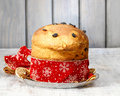 Panettone traditional italian christmas cake decoration Royalty Free Stock Photography