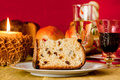 Panettone traditional italian christmas cake with decorations Royalty Free Stock Photo