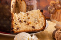 Panettone traditional italian christmas cake with decorations Stock Images