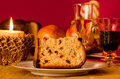 Panettone traditional italian christmas cake with decorations Stock Photo