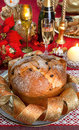 Panettone traditional italian christmas cake with decorations Royalty Free Stock Photography