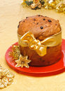 Panettone, typical Christmas cake Stock Photos