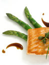 Panfried salmon with asparagus 2 Royalty Free Stock Photos