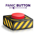 Panic Button Vector. Red Alarm Shiny Button Icon. Psychological Health Illustration Royalty Free Stock Photo