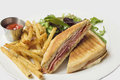 Panini with Ham French Fries and Salad Royalty Free Stock Photo