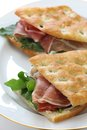 Panini italian sandwich focaccia on white dish Royalty Free Stock Photography
