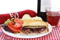 Panini Sandwich of Steak and Portabella Mushroom Stock Photo