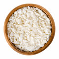 Panko flakes of bread crumbs in wooden bowl Royalty Free Stock Photo