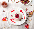 Panna cotta,with berry sauce. Italian dessert. Royalty Free Stock Photo