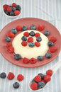 Panna cotta dessert with vanilla pudding and fresh berries Royalty Free Stock Image