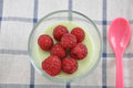 Panna cotta dessert with vanilla pudding and raspberries Royalty Free Stock Images