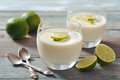 Panna cotta with fresh lime italian dessert in glass on wooden background Stock Photography