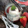 Panna cotta fresh in a preserving glass Stock Photo