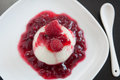 Panna cotta with raspberries home made Stock Photography