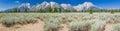 Pano of The Grand Teton National Park Mountain Range in Wyoming, USA. Royalty Free Stock Photo