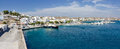 Panorama of Adamantas port, Milos island, Greece Royalty Free Stock Image
