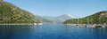 Panorama of aegean sea coast with yachts turkey Stock Photo