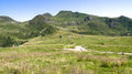 Panorama on alpine plateau a mountain Royalty Free Stock Photos