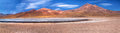 Panorama of altiplanic lagoon miscanti and volcano miniques desert atacama chile Royalty Free Stock Photography