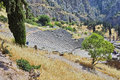 Panorama of Amphitheater in Ancient Greek archaeological site of Delphi Royalty Free Stock Photo
