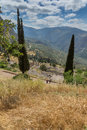 Panorama of Amphitheater in Ancient Greek archaeological site of Delphi, Greece Royalty Free Stock Photo