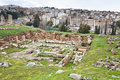 Panorama of ancient city Gerasa and modern Jerash Royalty Free Stock Photos