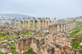 Panorama of ancient city Gerasa and modern Jerash Royalty Free Stock Photography