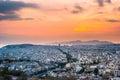 Panorama of Athens at sunset. Beautiful cityscape Royalty Free Stock Photo