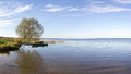Panorama of autumn lake Plesheyevo. Pereslavl-Zalessky. Russia. Royalty Free Stock Photo