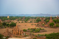 Panorama of bagan with the irrawaddy river in the background as seen from minyeingon temple Royalty Free Stock Images