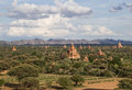 Panorama of Bagan temples bathed in golden sunlight